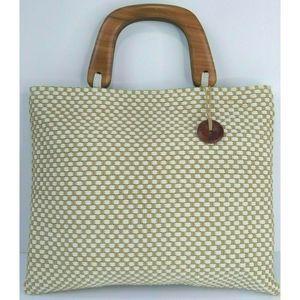 The Sak Cream Tan Cotton Raffia Woven Handbag